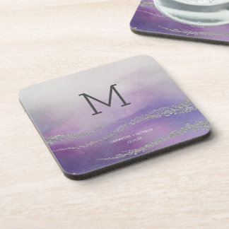 Elegant Watercolor in Orchid Wedding Monogram Coaster