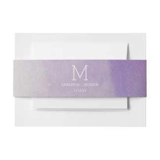 Elegant Watercolor in Orchid Wedding Monogram Invitation Belly Band