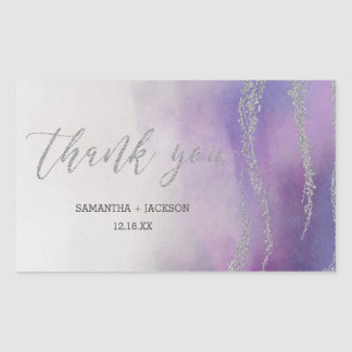 Elegant Watercolor in Orchid Wedding Thank You Sticker