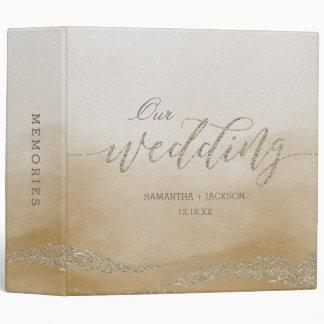 Elegant Watercolor in Sand Wedding Photo Album Vinyl Binders
