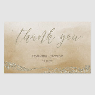 Elegant Watercolor in Sand Wedding Thank You Sticker