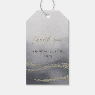 Elegant Watercolor in Smoke Wedding Thank You Gift Tags