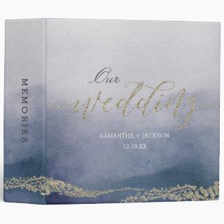Elegant Watercolor in Surf Wedding Photo Album Binders