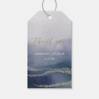 Elegant Watercolor in Surf Wedding Thank You Gift Tags