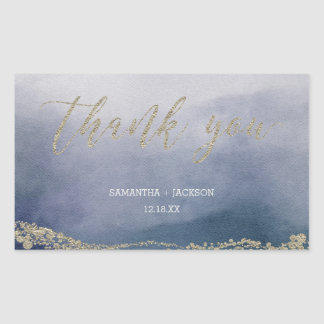 Elegant Watercolor in Surf Wedding Thank You Sticker