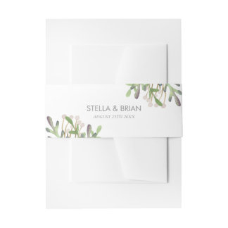 Elegant Watercolor Invitation Band Invitation Belly Band