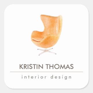 Elegant Watercolor Leather Chair Interior Designer Square Sticker