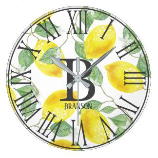 Elegant Watercolor Lemons & Blossoms Monogram Large Clock