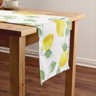 Elegant Watercolor Lemons & Blossoms Short Table Runner