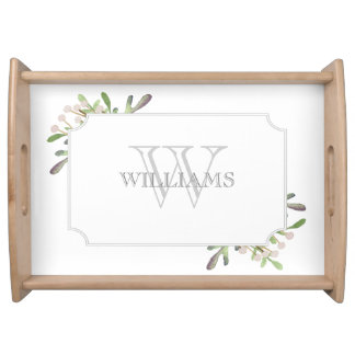 Elegant Watercolor monogrammed tray