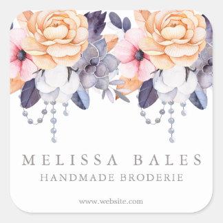 Elegant Watercolor Peony Floral Custom Business Square Sticker