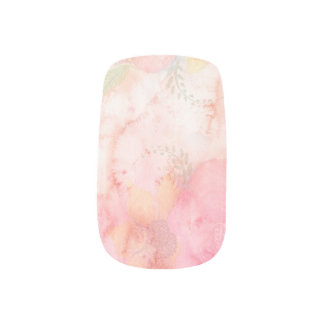 Elegant Watercolor Pink Floral Background Fingernail Decal