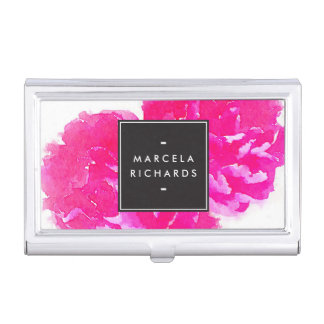 Elegant Watercolor Pink Peonies Card Case