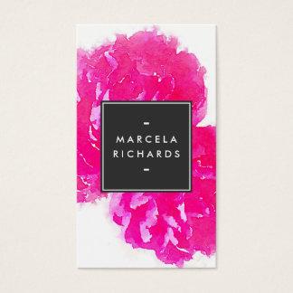 Elegant Watercolor Pink Peonies II Business Card