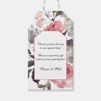 Elegant Watercolor Pink Peonies Thank You Tags Pack Of Gift Tags