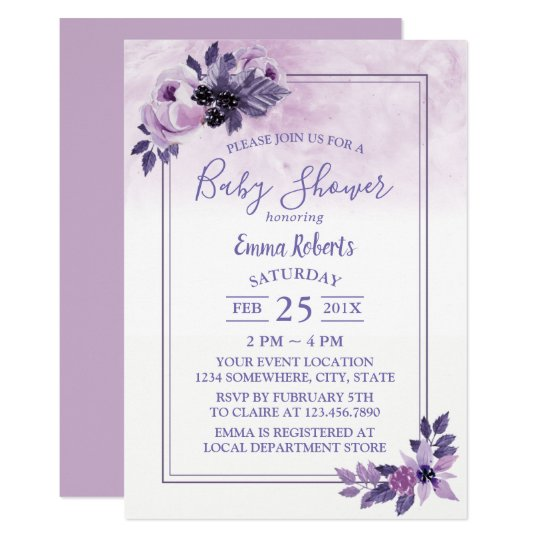 Elegant Watercolor Purple Floral Baby Shower Card