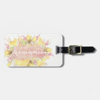 Elegant Watercolor Roses Honeymoon Luggage Tags