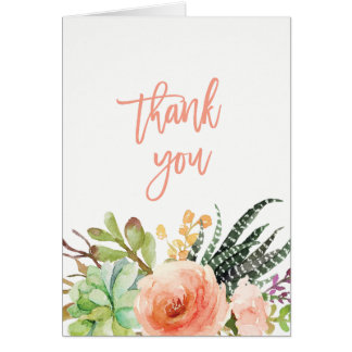 Elegant Watercolor Succulent  | Wedding Thank You Card