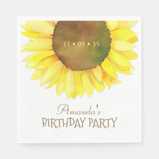 Elegant Watercolor Sunflower Birthday Party Paper Napkins