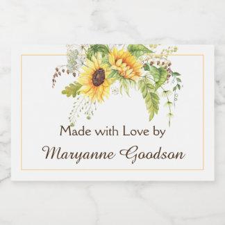 Elegant Watercolor Sunflowers Greenery Labels