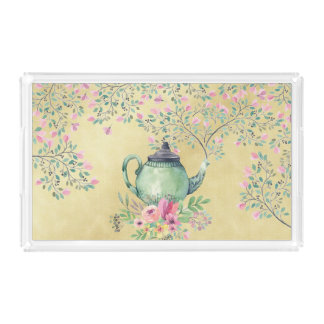 Elegant Watercolor Teapot and Flowers Gold Acrylic Tray