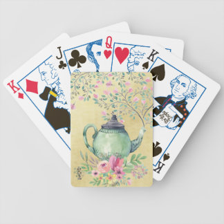 Elegant Watercolor Teapot and Flowers Gold Bicycle Playing Cards