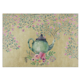 Elegant Watercolor Teapot and Flowers Gold Boards