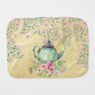 Elegant Watercolor Teapot and Flowers Gold Burp Cloth