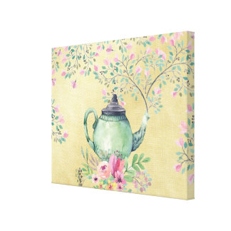 Elegant Watercolor Teapot and Flowers Gold Canvas Print