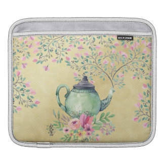 Elegant Watercolor Teapot and Flowers Gold iPad Sleeve