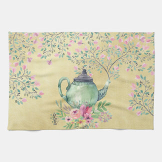 Elegant Watercolor Teapot and Flowers Gold Kitchen Towel