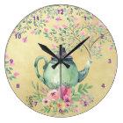 Elegant Watercolor Teapot and Flowers Gold Large Clock