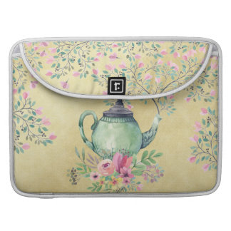 Elegant Watercolor Teapot and Flowers Gold MacBook Pro Sleeves