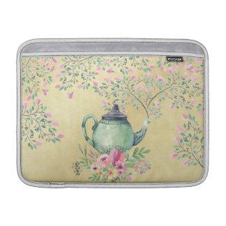 Elegant Watercolor Teapot and Flowers Gold MacBook Sleeve