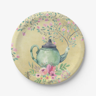 Elegant Watercolor Teapot and Flowers Gold Paper Plate