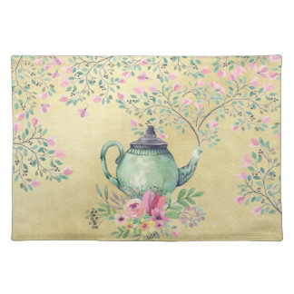 Elegant Watercolor Teapot and Flowers Gold Placemat