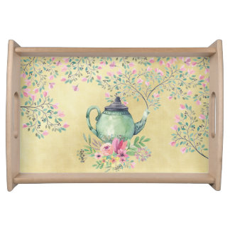 Elegant Watercolor Teapot and Flowers Gold Serving Tray