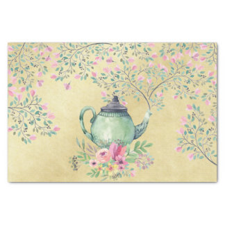 Elegant Watercolor Teapot and Flowers Gold Tissue Paper
