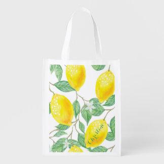 Elegant watercolored lemon pattern on white name reusable grocery bag