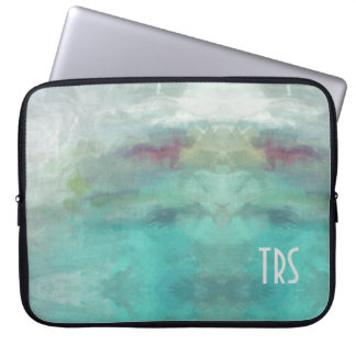 Elegant WatercolorMonogram Computer Protector Laptop Sleeve