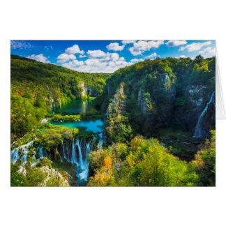 Elegant waterfall scenic, Croatia Card