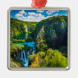 Elegant waterfall scenic, Croatia Silver-Colored Square Ornament