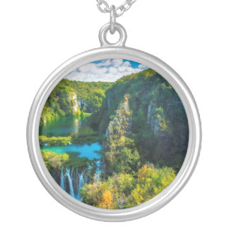 Elegant waterfall scenic, Croatia Silver Plated Necklace