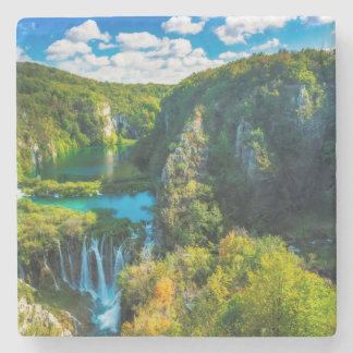 Elegant waterfall scenic, Croatia Stone Beverage Coaster