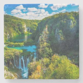 Elegant waterfall scenic, Croatia Stone Coaster