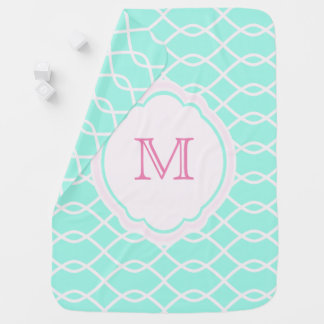ELEGANT WAVE PATTERN MONOGRAM  - Pink Baby Blanket