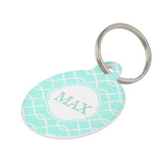 Elegant wave pattern Personalized Teal Pet Tag