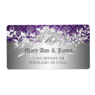 Elegant Wedding Address Baroque Flourish Purple