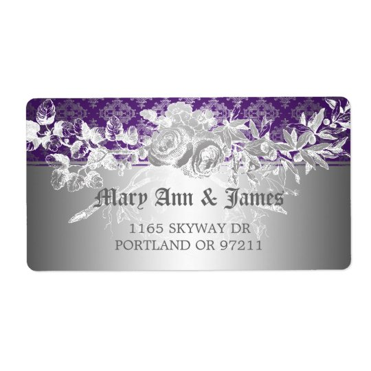 Elegant Wedding Address Baroque Flourish Purple Shipping Label
