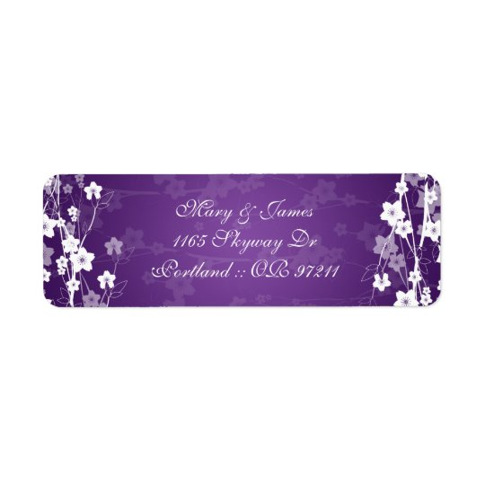 Elegant Wedding Address Cherry Blossom Purple Return Address Label